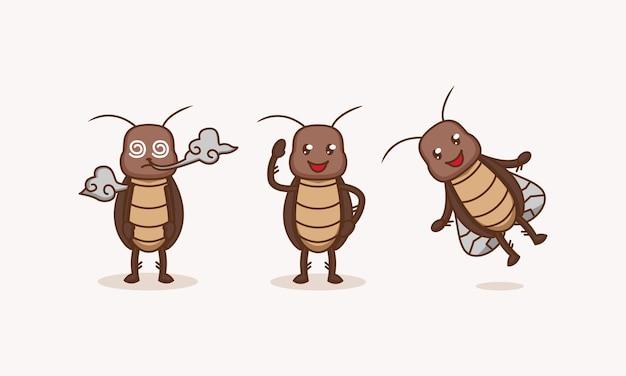 Ensemble de parasites mignons de bogue de cafard