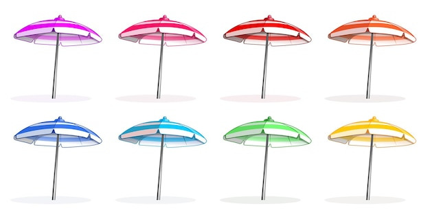 Ensemble de parasols de plage multicolores lumineux colorfu. vue de côté de parasol de plage.