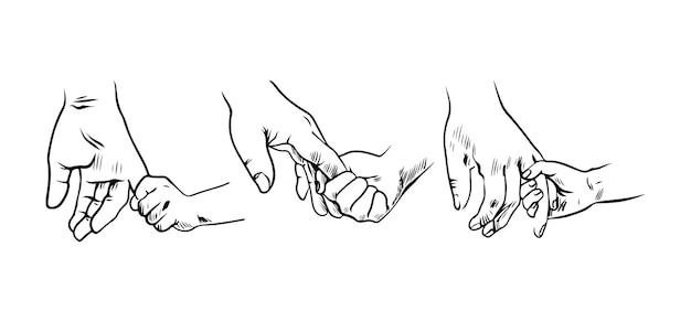 Ensemble de parents et enfant main dans la main dessin