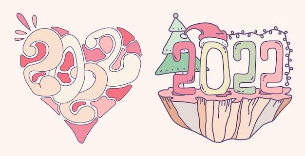 Ensemble de pastels colorés dessinés à la main doodle 2022