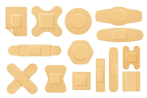 Ensemble de patch de bandage élastique isolé. bande de plâtre de premiers soins ou de cour, plâtre collant.