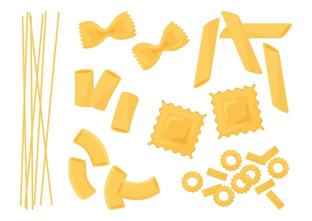Ensemble de pâtes. différents types de pâtes italiennes. spaghetti, raviolis, penne, farfalle, nouilles, macaronis.