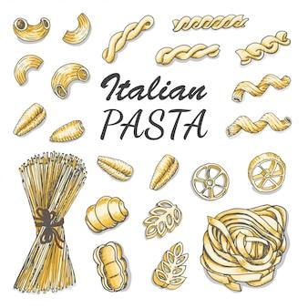 Ensemble de pâtes italiennes colorées