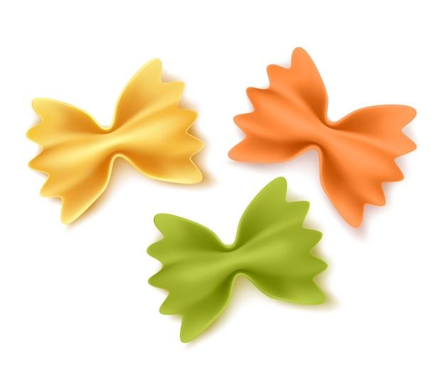 Ensemble de pâtes sèches farfalle réaliste