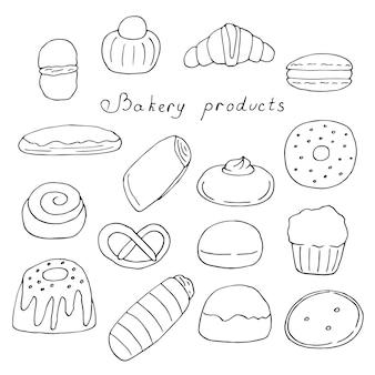 Ensemble de pâtisseries, petits pains et desserts, illustration vectorielle doodle, dessin à la main