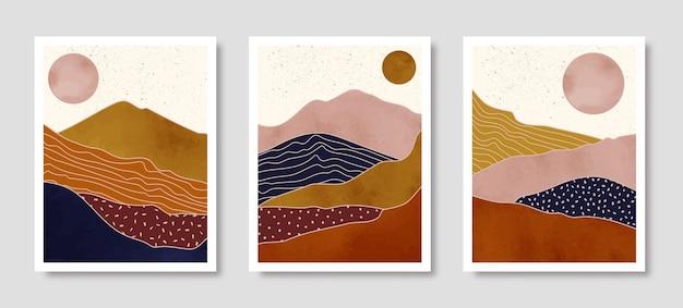 Ensemble de paysage abstrait de montagnes avec le soleil dans un style tendance minimal. fond de vecteur dans les couleurs de la terre cuite