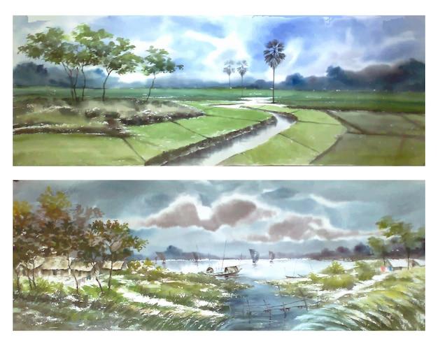 Ensemble de paysage aquarelle nature deux dessinés à la main