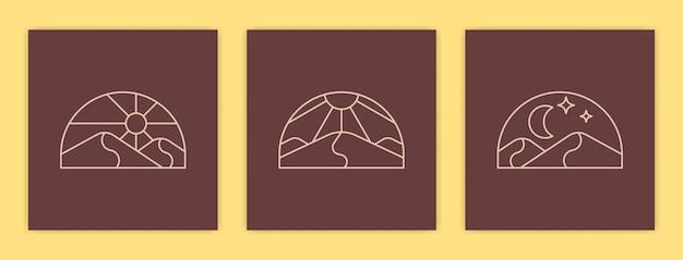 Ensemble de paysage désertique abstrait minimaliste et illustration d'affiche de soleil