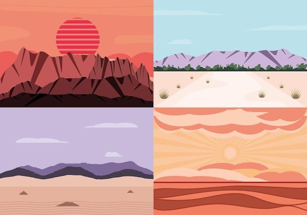 Ensemble de paysage désertique aride