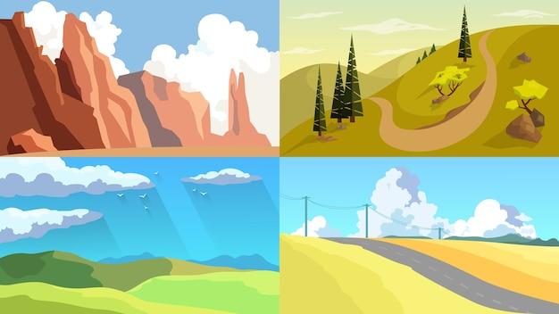 Ensemble de paysage. diverses vues extérieures sur la nature