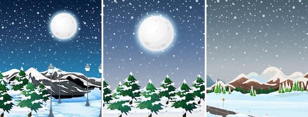 Ensemble de paysage en plein air d'hiver
