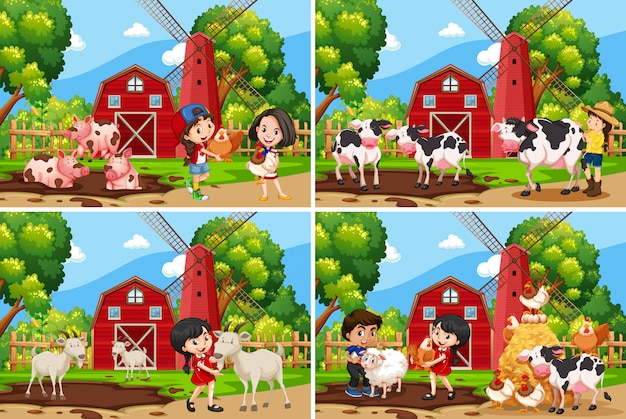 Ensemble de paysage rural