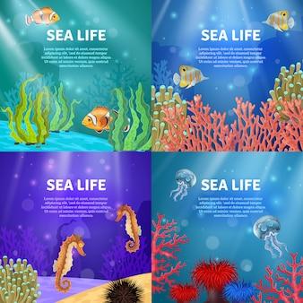 Ensemble de paysage sous-marin