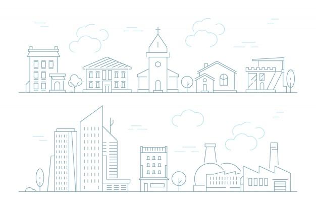Ensemble de paysage urbain linéaire urbain
