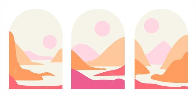 Ensemble de paysages de montagne abstraits en arches dans un style minimaliste tendance du milieu du siècle dans des tons roses et sables.