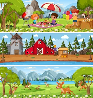 Ensemble de paysages naturels différents sur scène de jour avec personnage de dessin animé