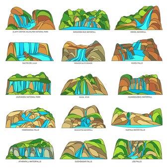 Ensemble de paysages de sites naturels de chutes d'eau ou de chutes