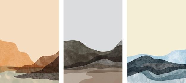 Ensemble de peint à la main minimaliste créatif. fond d'arts abstraits.