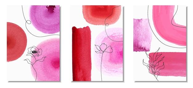 Ensemble de peint à la main minimaliste créatif.