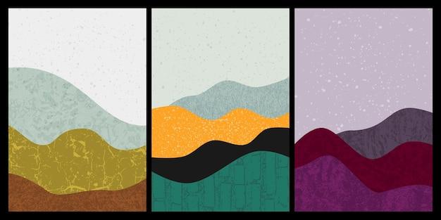 Ensemble de peinture de montagne abstraite. fond d'art abstrait. vecteurs premium