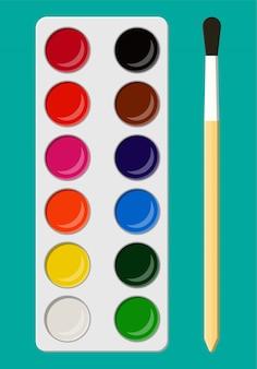 Ensemble de peintures aquarelles en boîte avec pinceau