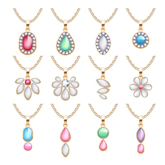 Ensemble de pendentifs de bijoux. chaînes d'or avec pierres précieuses. colliers précieux avec diamants perles rubis. illustration. bon pour la bijouterie.