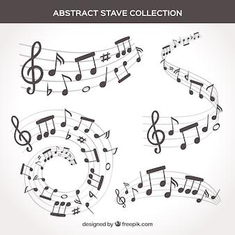 Ensemble de pentagrammes et notes de musique