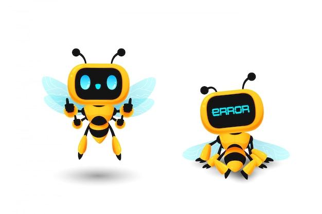 Ensemble de personnage ai robot abeille mignon dans le pouce vers le haut et pose d'erreur