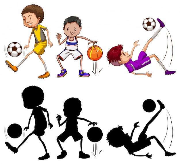 Ensemble de personnage d'athlète