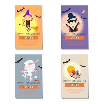 Ensemble de personnage de bande dessinée de fond fête halloween