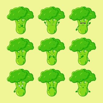 Ensemble de personnage de brocoli mignon isolé vecteur premium