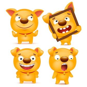 Ensemble de personnage de chien emoji dessin animé jaune
