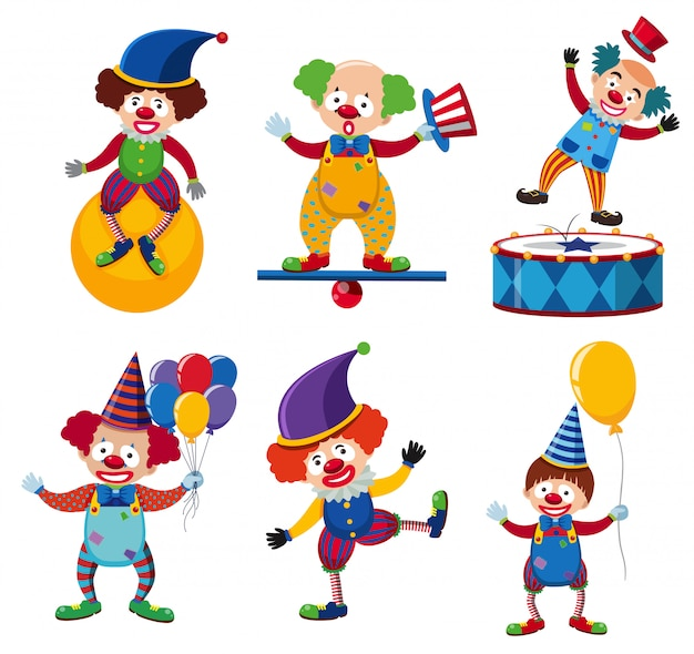 Un ensemble de personnage de cirque clown