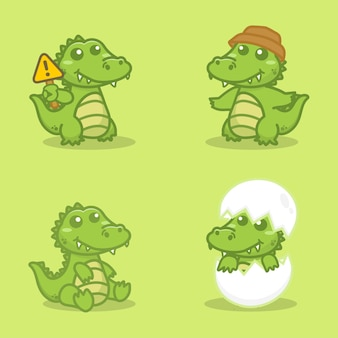 Ensemble de personnage de crocodile mignon. illustration vectorielle de dessin animé.
