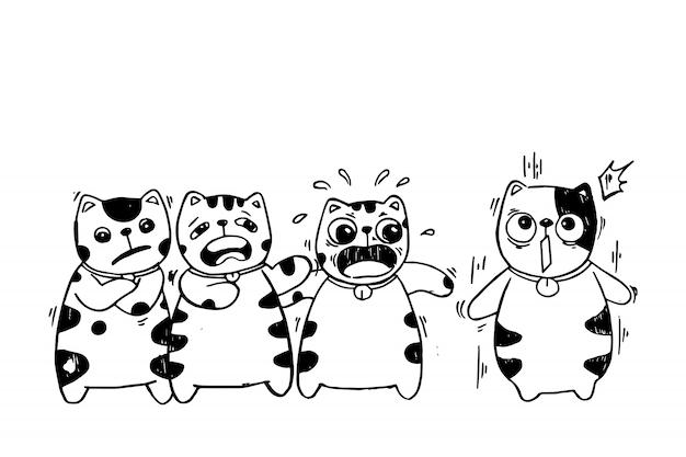 Ensemble de personnage de dessin animé de chat avec différentes émotions