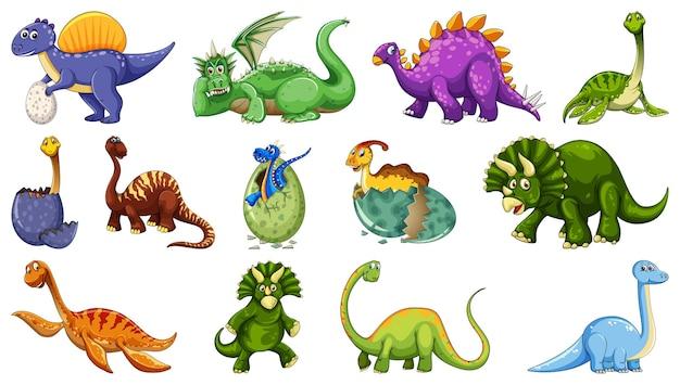 Ensemble de personnage de dessin animé de dinosaure différent isolé sur fond blanc