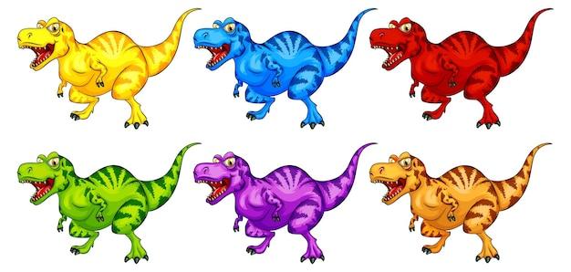 Ensemble de personnage de dessin animé de dinosaure raptorex