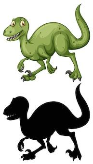 Ensemble de personnage de dessin animé de dinosaure et sa silhouette sur fond blanc