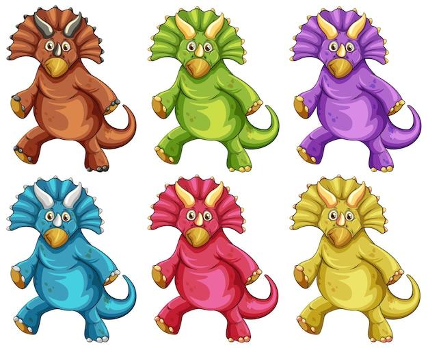 Ensemble de personnage de dessin animé de dinosaure tricératops