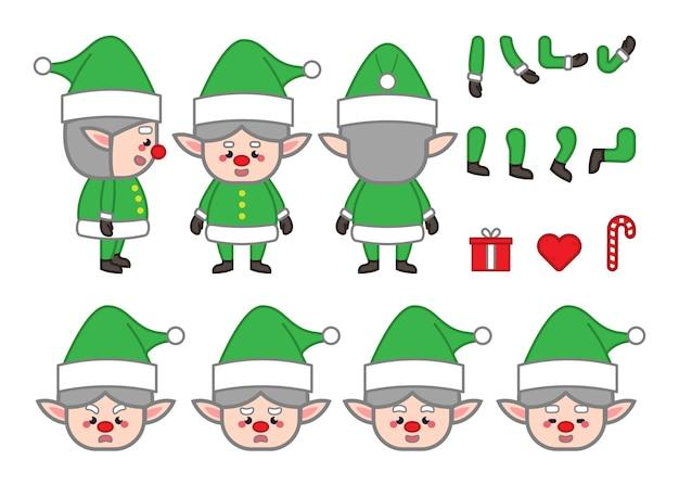 Ensemble de personnage de dessin animé elfes pour la conception de mouvement