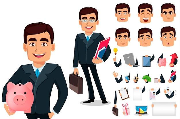 Ensemble de personnage de dessin animé d'homme d'affaires en costume formel