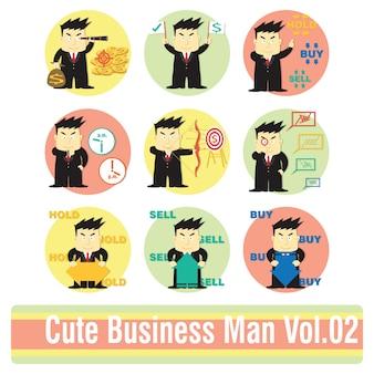 Ensemble de personnage de dessin animé homme d'affaires dans les actions d'analyse boursière.