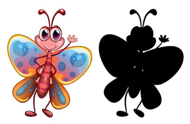 Ensemble de personnage de dessin animé insecte et sa silhouette sur fond blanc