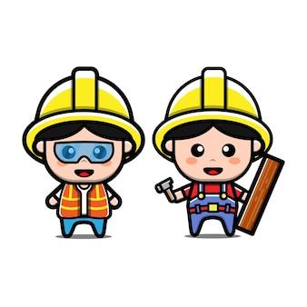 Ensemble de personnage de dessin animé mignon constructeur