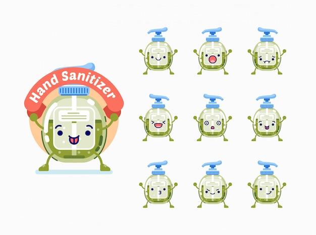 Ensemble de personnage de dessin animé mignon désinfectant pour les mains vert avec différentes expressions faciales
