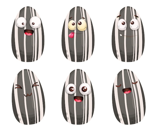 Ensemble de personnage de dessin animé mignon de graines de tournesol.