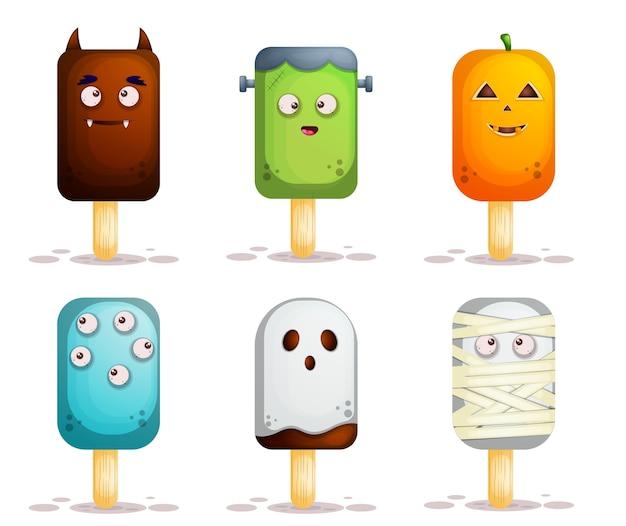 Ensemble de personnage de dessin animé mignon mascotte crème glacée