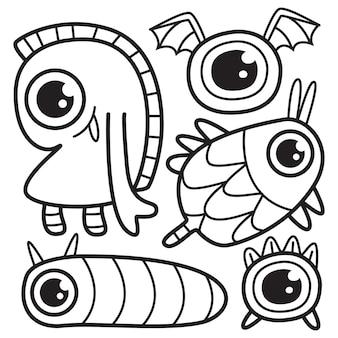 Ensemble de personnage de dessin animé de monstres doodle