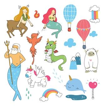 Ensemble de personnage de dessin animé de mythologie