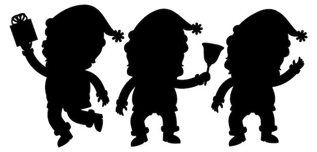 Ensemble de personnage de dessin animé de silhouette de père noël